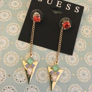 GUESS Gold and Crystal Jacket Drop Earrings